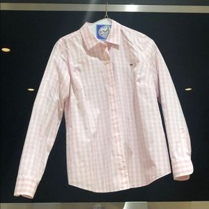 Vineyard Vines pink and white gingham button-down.
